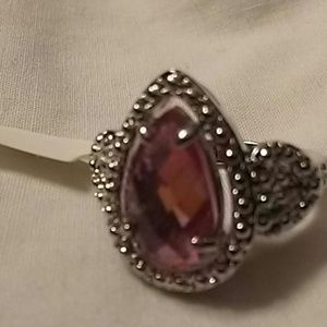 (NWT) pink zircon silver gold filled ring